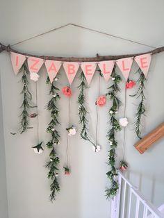 Baby Nursery Floral Banner - Girl Flowers Boho @eagaudio