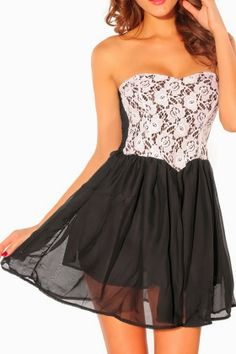 Black and White Lace Cocktail Party Dress
