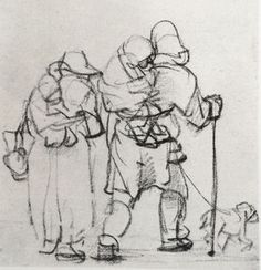 Beggar Family with Dog #drawing by #Rembrandt van Rijn Found by #danieloberB