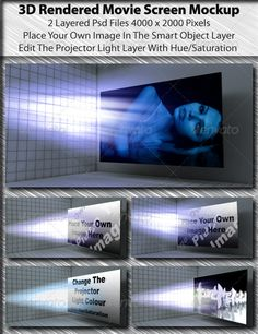 3D Rendered Movie Screen Mockup — Photoshop PSD #cinema #futuristic • Available here → https://graphicriver.net/item/3d-rendered-movie-screen-mockup/673674?ref=pxcr