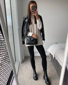 Le Fashion: I've Found the Easiest Fall Outfit Ever – and it's So Stylish —@whatemwore This look is my new fall uniform – just reach for a pair of black leggings and a beige sweater for lounging around the house. If you're going out for errands or meeting friends, add a faux leather jacket and a pair of flat black ankle boots. It's simple, minimal, and comfy. Add a black crossbody bag for your essentials and you're all set.