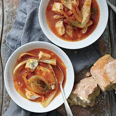 Arrabbiata, a spicy sauce of garlic, tomato, and chile pepper, forms the base for this stew. You can substitute cod or shrimp for the...