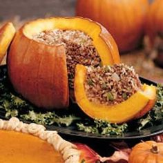 (Use brown rice; sub 4 oz. nitrate-free cooked turkey bacon for ham, and 3 egg whites for the eggs) The Great Stuffed Pumpkin -- fancy enough to serve to guests. Serves 8 (serve with an extra 3/4 cup rice per person).
