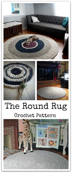 The super popular Round Rug! It's so basic and endlessly customizable - perfect for any room and any style! Finally a pattern to make your own! Surprisingly quick to work up holding two strands of yarn and using a giant Q hook! This is a fast and fun way to update your decor instantly! Instant PDF download. #ad #affiliate #crochet #pattern
