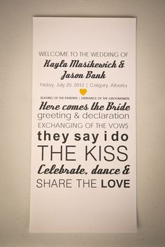 how cute! So funny my Groom suggested a giant board in lieu of small programs lol