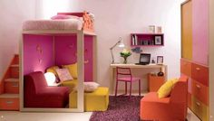 30 Cool and Playful Bunk Beds Ideas  Love this one w/ storage boxes under stairs