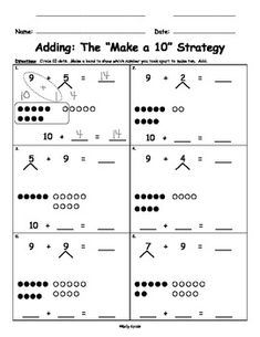 Make Ten Adding with Number Bonds for Singapore Math, Math