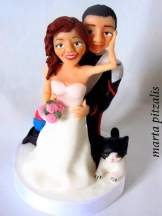 Wedding cake topper. Bride and groom caricature