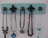 fleur de lis jewelry organizer robins egg blue and black polka dots handmade