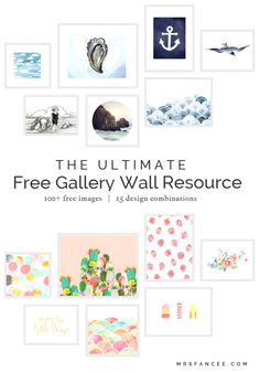 Ultimate Free Gallery Wall Resource, this is seriously AMAZING! Curated gallery collections, with links to all free printables! Metal Tree Wall Art, Diy Wall Art, Diy Art, Metal Art, Free Art Prints, Wall Prints, Imprimibles Baby Shower, Photowall Ideas, Desenhos Love