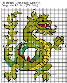 Free Cross Stitch Chart   Oriental Dragon Card