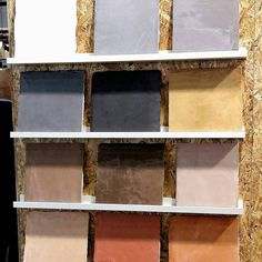 Microcement color samples at display at the Habitare fair. Wall Colors, Paint Colors, Micro Cement, Paint Color Palettes, Concrete Color, Dream Bathrooms, Building Materials, Kitchen Flooring, Interior Inspiration