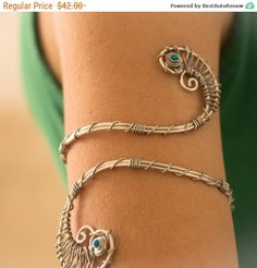 Mothers Day Sale - Opal Arm bracelet silver Upper arm bracelet  armlet arm cuff Womens Bracelet Wrap Bracelet Cuff Bracelet spiral... by energywire from Ecommmax. Find it now at http://ift.tt/1qZohYZ!