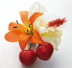 Cherry HairBow Rockabilly Hair Clip Bow Fruit Cluster Headpiece 50s Pin Up Flower Tropical