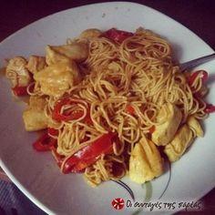 Κινέζικα νουντλς με κοτόπουλο και γλυκιά σάλτσα #sintagespareas