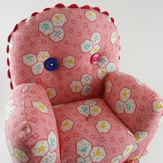 Salmon Pink Pincushion Chair by FrankieWaffles on Etsy