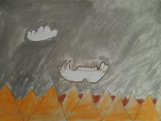 Soft pastel Georgia O'Keeffe study with 3rd grade