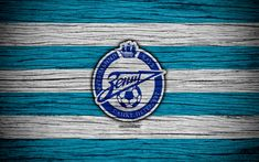 Download wallpapers FC Zenit, 4k, wooden texture, Russian Premier League, soccer, football club, Russia, Zenit, logo, art, football, Zenit FC