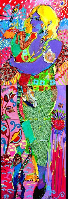 SWEET-HEART (triptyque) - huile et éléments sur toile, 240x83 cm © Gordon Seward