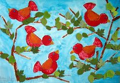 Potato Printed Birds: Check out The Usborne Complete Book of Art Ideas