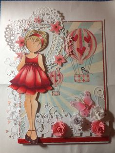 Prima doll with copics Prima Paper Dolls, Prima Doll Stamps, Scrapbook Paper Crafts, Scrapbooking, Tampons, Doll Crafts, Copics, Card Tags, Valentine Day Cards