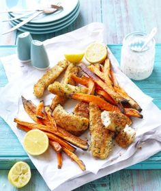 Try this easy crumbed fish recipe with sweet potato fries. Learn how to make your sweet potato fries crispy in the oven and serve with fish for an easy dinner idea. Sweet Potato Pasta, Sweet Potato Chips, Sweet Potato Recipes, Fish Recipes, Seafood Recipes, Dinner Recipes, Recipe Using Ricotta, Pine Nut Recipes, Easy Party Food