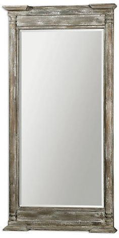 uttermost valcellina wooden leaner mirror - Frame is made of weathered wood covered in a distressed ivory gray finish. Mirror features a generous bevel. May be hung horizontal or vertical. Wood Framed Mirror, Mirror Art, Beveled Mirror, Jewelry Mirror, Mirror Glass, Wood Panel Walls, Wood Paneling, Farmhouse Floor Mirrors, Leaner Mirror