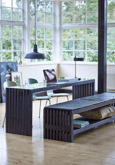 TRALLE LANGBORD - SORT - 218*49*72 - DESIGN BY PLUS #rallemøbler #bord #spisebord #skrivebord #sort #outdoor #have #houseofbk #plusdesign @House of Bæk & Kvist ApS.com
