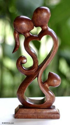 Wood sculpture, 'Family Love' by NOVICA