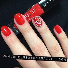 Bandana nails with @julepmaven Delaunay - the perfect red!