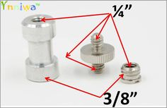 "3 in 1 Chrome-plated steel 1/4"" -1/4"" Screw to 3/8"" Spigot Stud Convert Adapter Kit for SLR Camera Tripod"