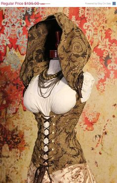 aec03a340a Items similar to Waist 32 to 34 Sage Green and Antique Gold Vine Hooded  Vixen Corset on Etsy