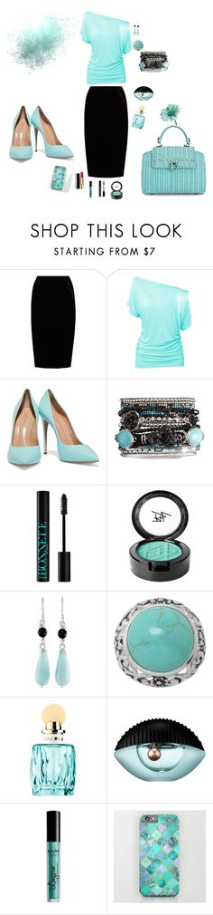Tiffany blue and black  outfit by Diva of Cake Polyvore featuring mode, Jupe By Jackie, Casadei, NOVICA, Beauty Is Life, NYX, Miu Miu, Kenzo, Salvatore Ferragamo and Chanel