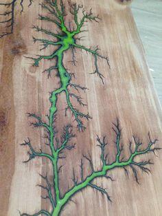 Live edge Pear wood Desk with glow in the dark Lichtenberg
