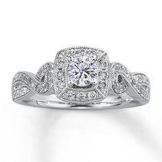 Kay - Diamond Engagement Ring 5/8 ct tw Round-cut 14K White Gold I love vintage rings!