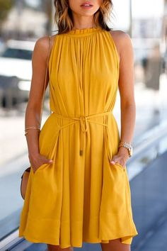 Round Neck Ruffle Tie-Up Sleeveless Dress