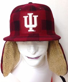 b838dff7a51  40 INDIANA HOOSIERS WINTER TRAPPER HAT Plaid WOOL Ear Flap IU Mens FITTED  7-3 8  Zephyr  IndianaHoosiers
