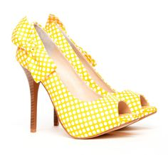 yellow polka dot peep toe pumps