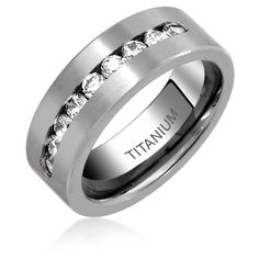 Titanium Channel Set Cubic Zirconia Mens Wedding Band Ring 8mm via Polyvore