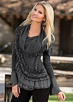 GREY MULTI Plaid sweater cardigan, cami, demin, over the knee boot from VENUS