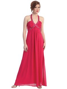 Jewel Accented Halter Neckline Long Prom Dress
