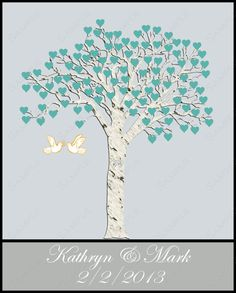Printable Wedding Tree Poster Print by queenofheartgifts on Etsy, $18.99