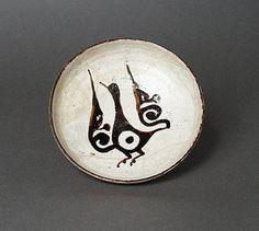 Plate Iran, Nishapur Plate, 10th century Ceramic; Vessel, Earthenware, white slip, slip-painted in black under a transparent glaze