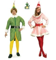 Elf - Buddy & Jovi Adult Couples Costume Set With Wig - Couples Halloween Costumes