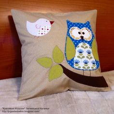 pillow with owl applique