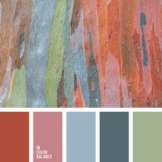 """dusty"" pink, light blue-gray and steel, olive-green, red-ginger colours."