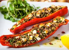 Peppers stuffed with quinoa and feta - Hemsley and Hemsley Healthy Eating Recipes, Veggie Recipes, Cooking Recipes, Healthy Food, Clean Recipes, Yummy Food, Vegetarian Cooking, Vegetarian Recipes, Feta Stuffed Peppers