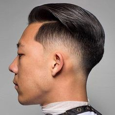 Low Taper Fade with Part and Textured Slick Back - Best Short Haircuts For Men: Cool Short Men's Hairstyles - Short Hair Guys Short Hair Undercut, Undercut Hairstyles, Short Hair Cuts, Asian Man Haircut, Asian Men Hairstyle, Hairstyle Ideas, Comb Over Haircut, Fade Haircut, Hipster Hairstyles