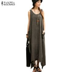 Maxi Dresses Casual Loose Sleeveless Vintage Long Party Dress