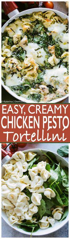 Easy Creamy Chicken Pesto Tortellini - Delicious, super easy #dinner with creamy, cheesy tortellini, basil #pesto, #chicken and #spinach. With @buitoniusa #BalanceYourPlate #sponsored